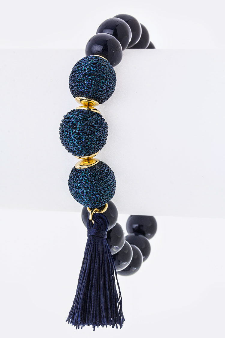 Yarn Balls & Tassel Stretch Bead Bracelet