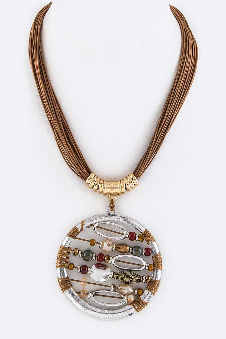 Jumbo Beaded Medallion Layer Necklace