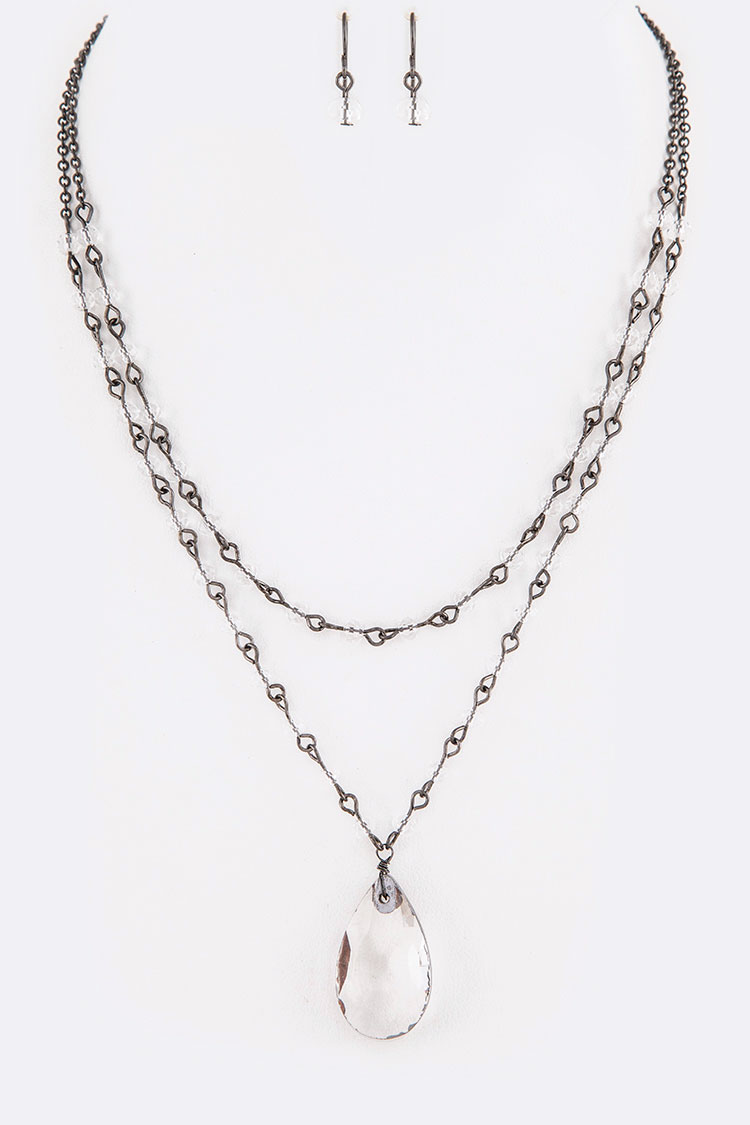 Crystal Station Teardrop Necklace Set