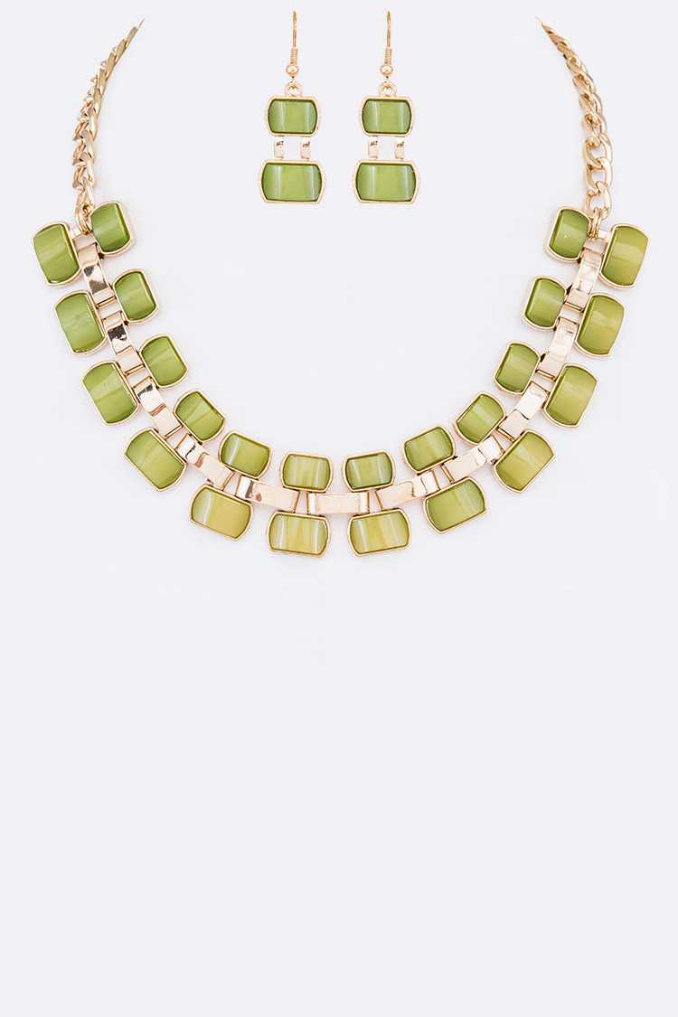 Resin Chain Collar Necklace Set