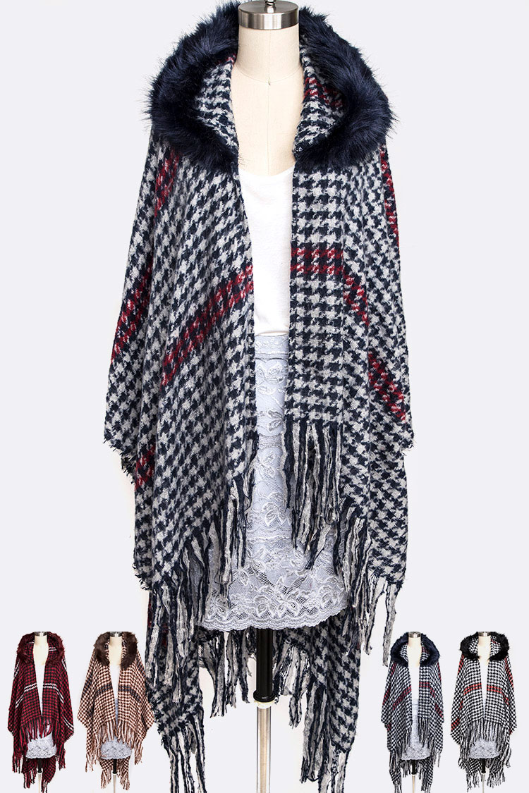 Faux Fur Hooded Houndstooth Shawl Scarf