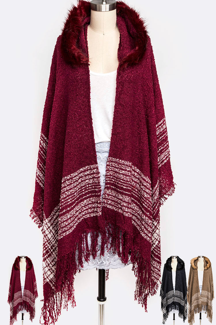 Faux Fur Hooded Fringe Shawl Scarf