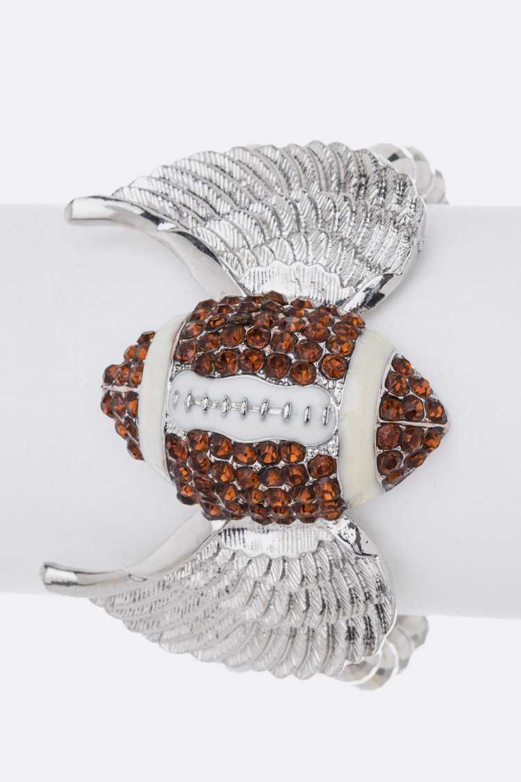 Crystal Football Wings Stretch Bracelet