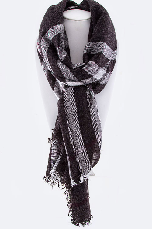 Angora Wool Mad For Plaid Fringe Scarf