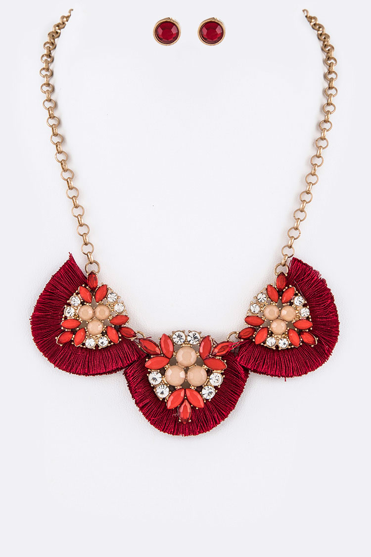 Fringe Tassel Bejeweled Statement Necklace Set