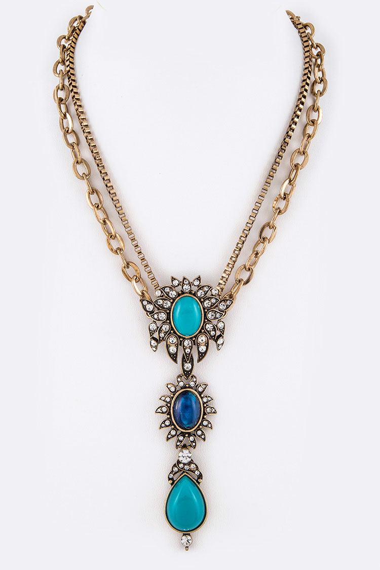 Crystal Stone Drop Double Chain Necklace