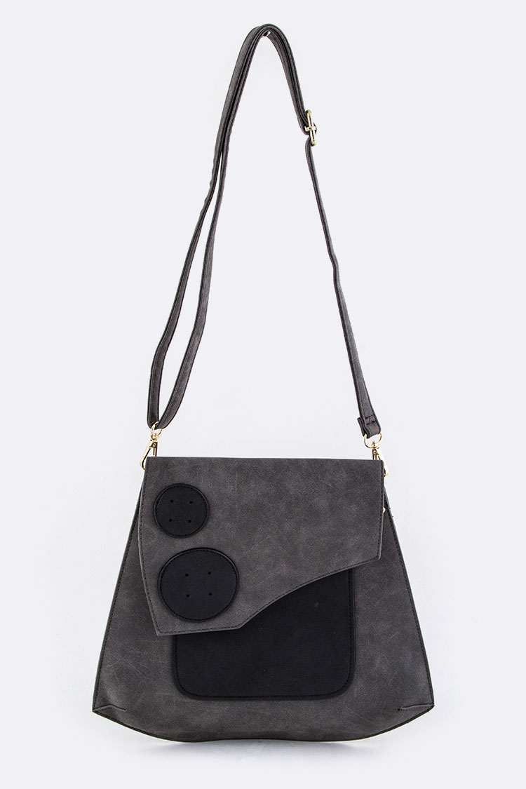 Jumbo Leather Button Accent Crossbody Bag