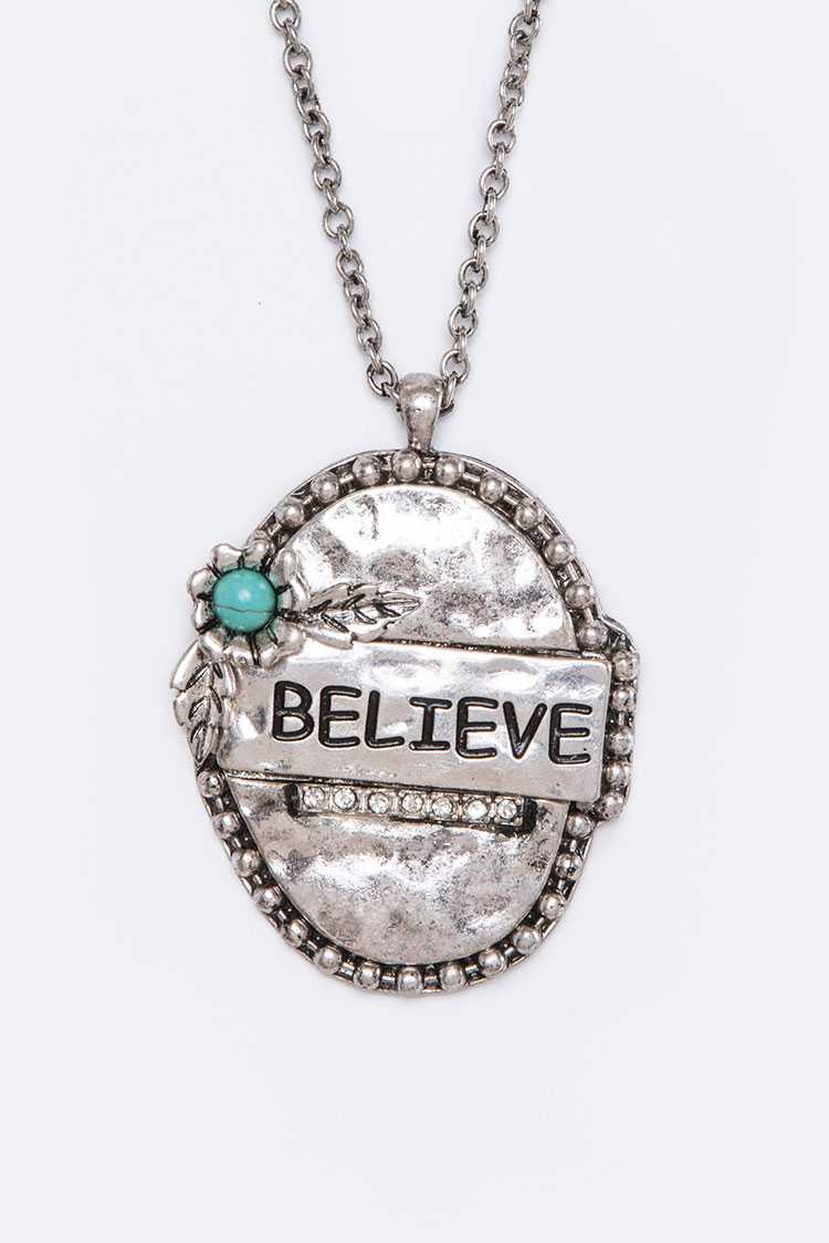 Believe Hammered Pendant Long Necklace