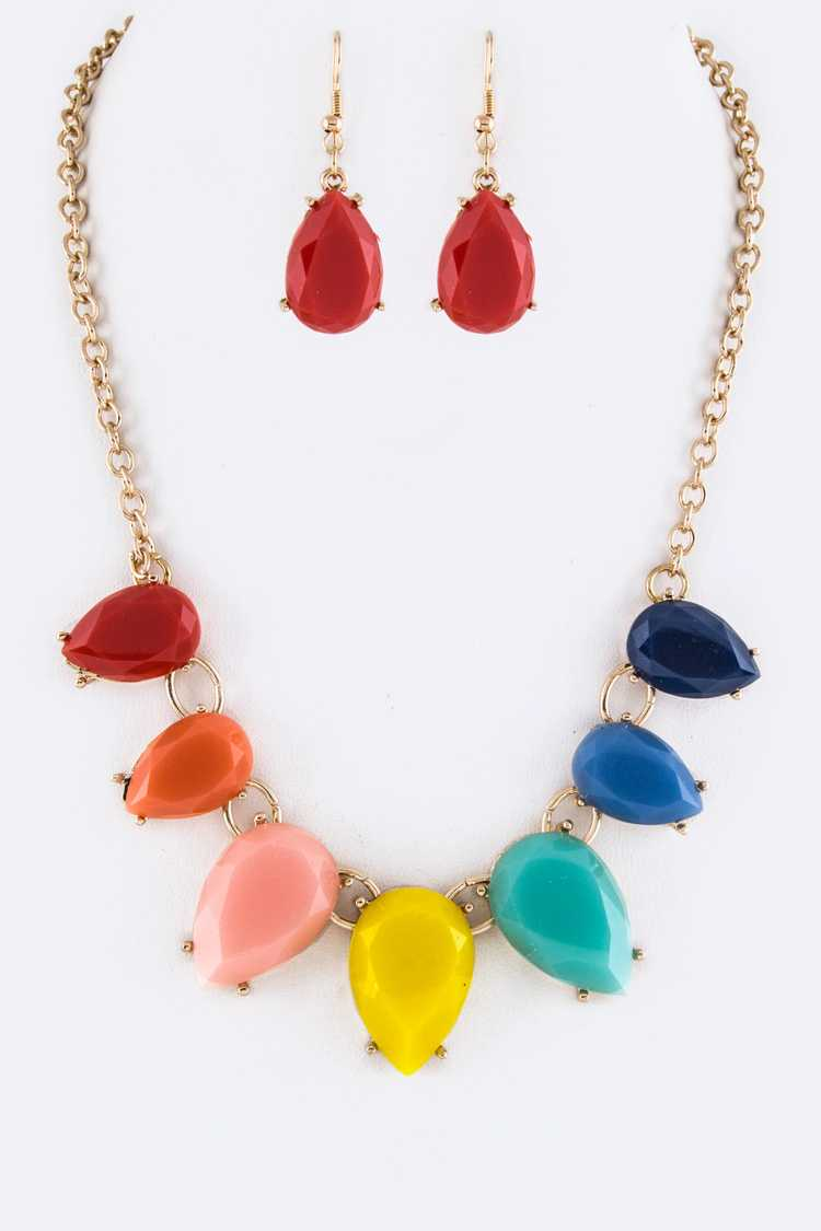 Resin Teardrops Statement Necklace Set