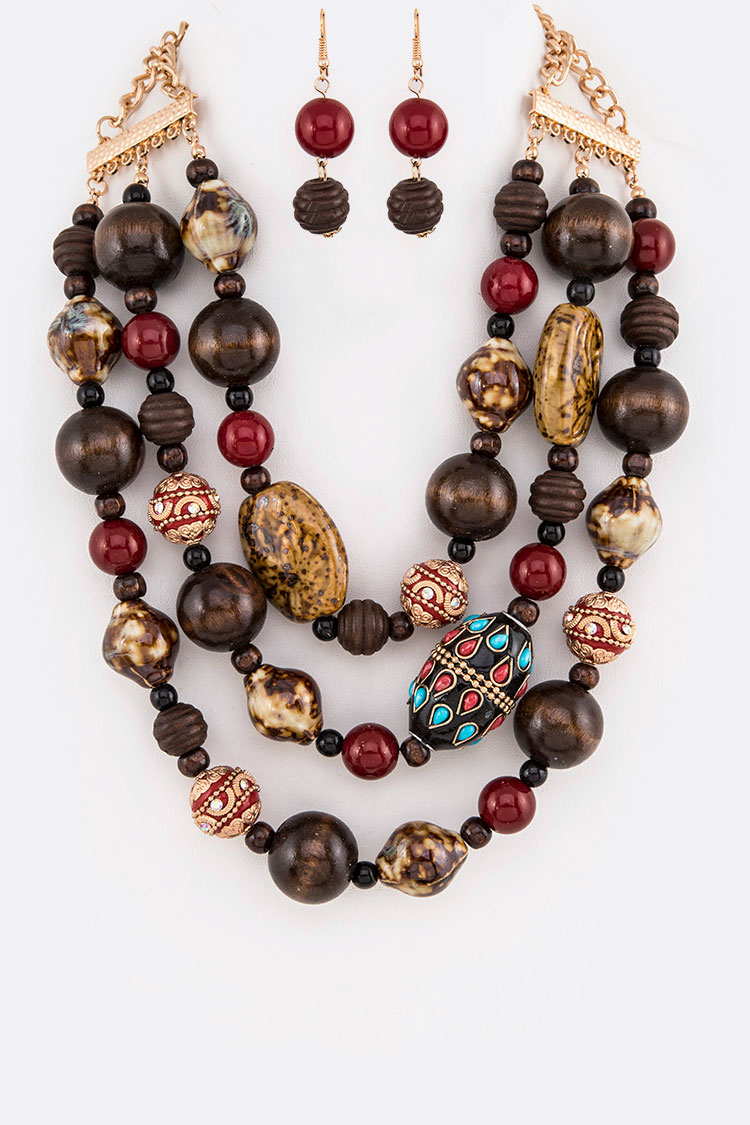 Mix Wooden & Ceramic Beads Statement Layer Necklace Set