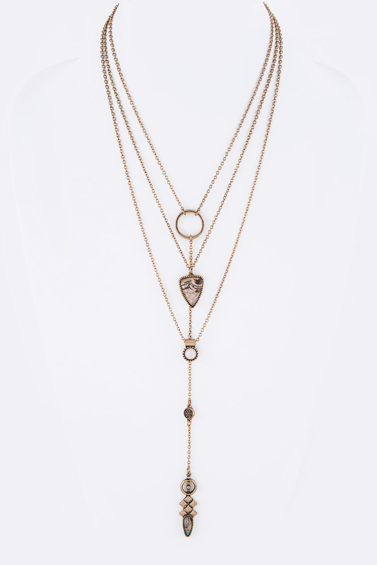 Bejeweled Layer Long Drop Necklace