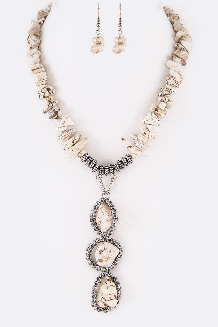 Raw Stone Nugget Drop Iconic Necklace Set