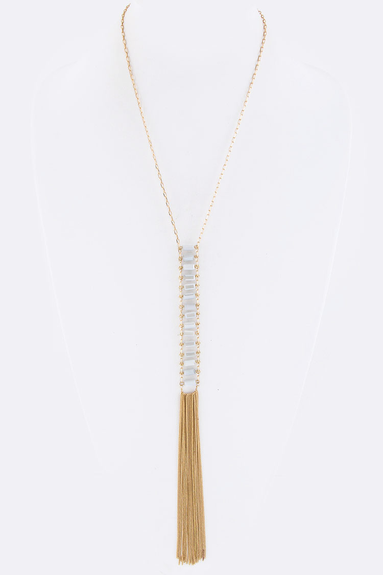 Layer Beads & Chain Drop Necklace