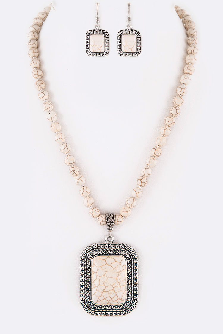 Stone Rectangular Pendant Necklace Set
