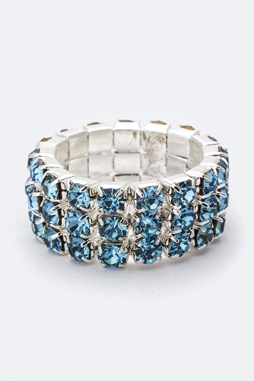 3 Row Crystals Stretch Ring