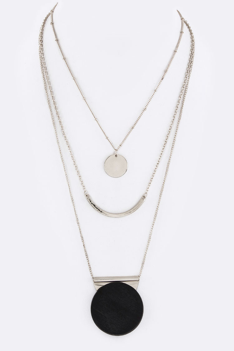 Mix Disks & Bar Layer Necklace