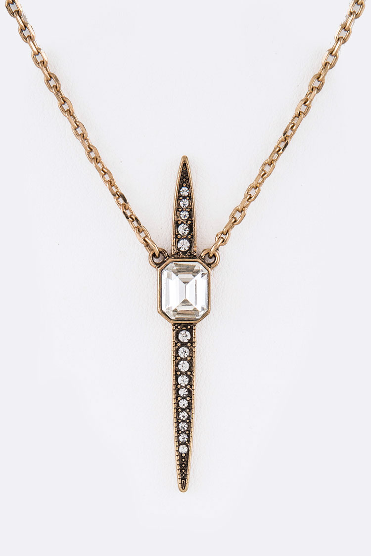 Crystal Spear Pendant Necklace