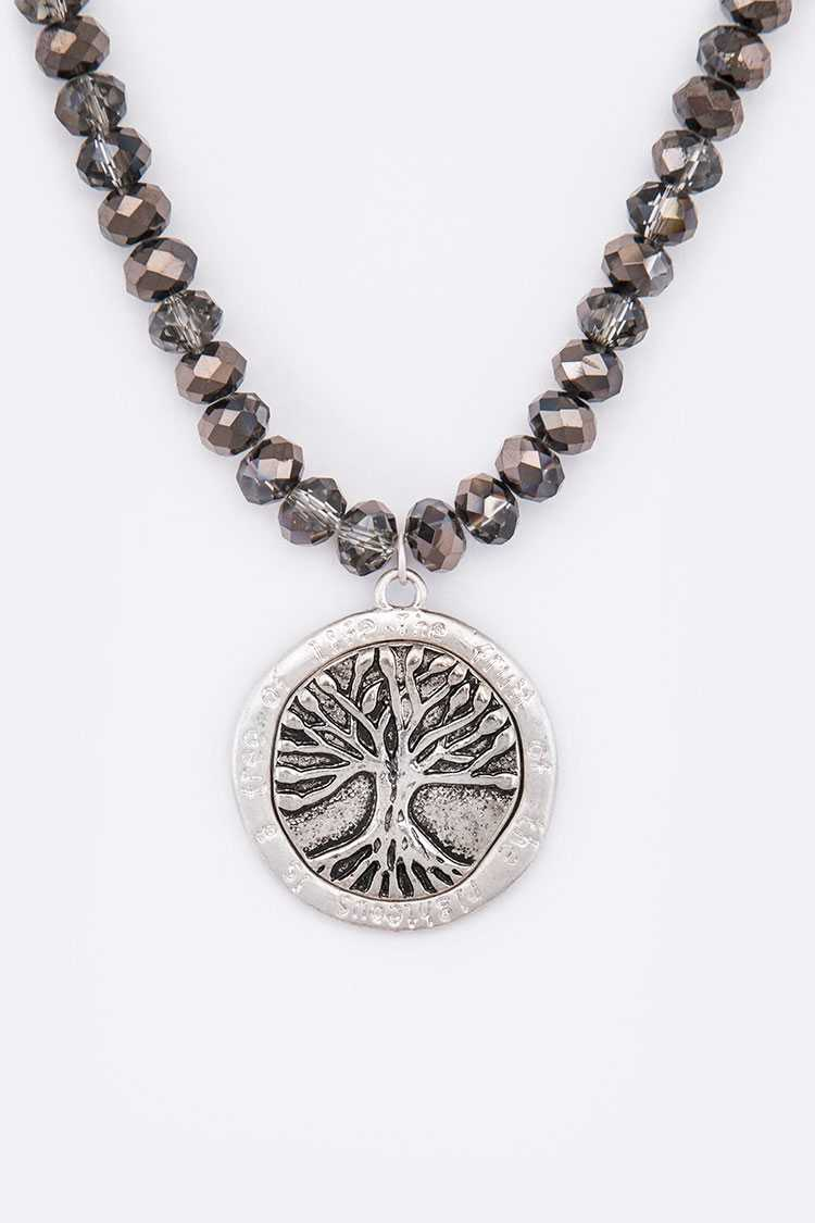 Tree Of Life Pendant Crystal Necklace Set