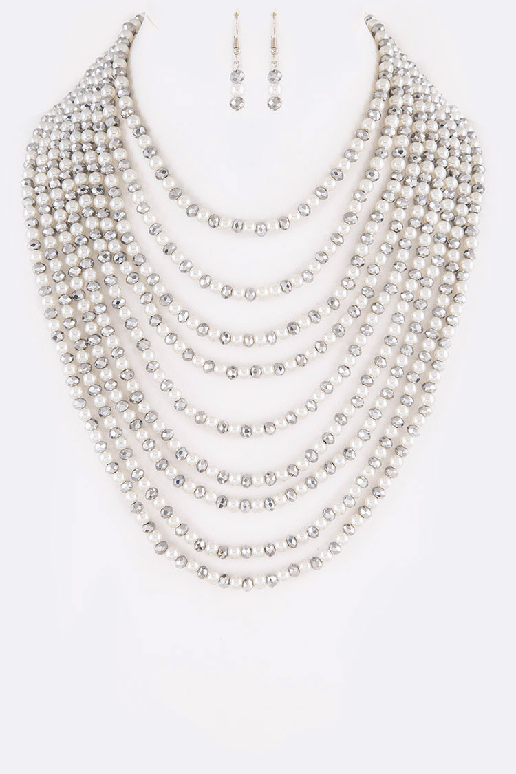Pearl & Beads Layered Necklace Set