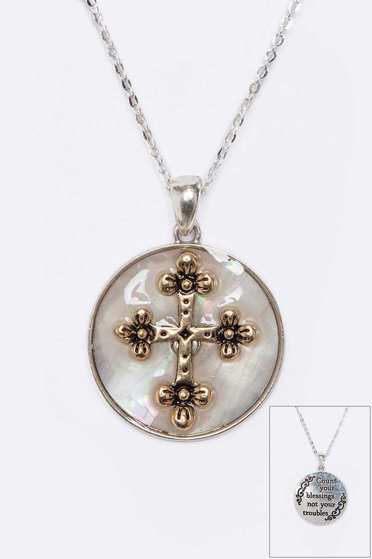 Cross Blessing MOP Pendant Necklace Set