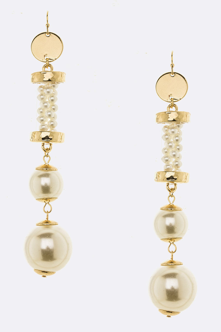 Extra Long Pearl Drop Statement Earrings