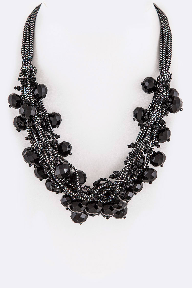 Fringe Mix Beads Layer Necklace