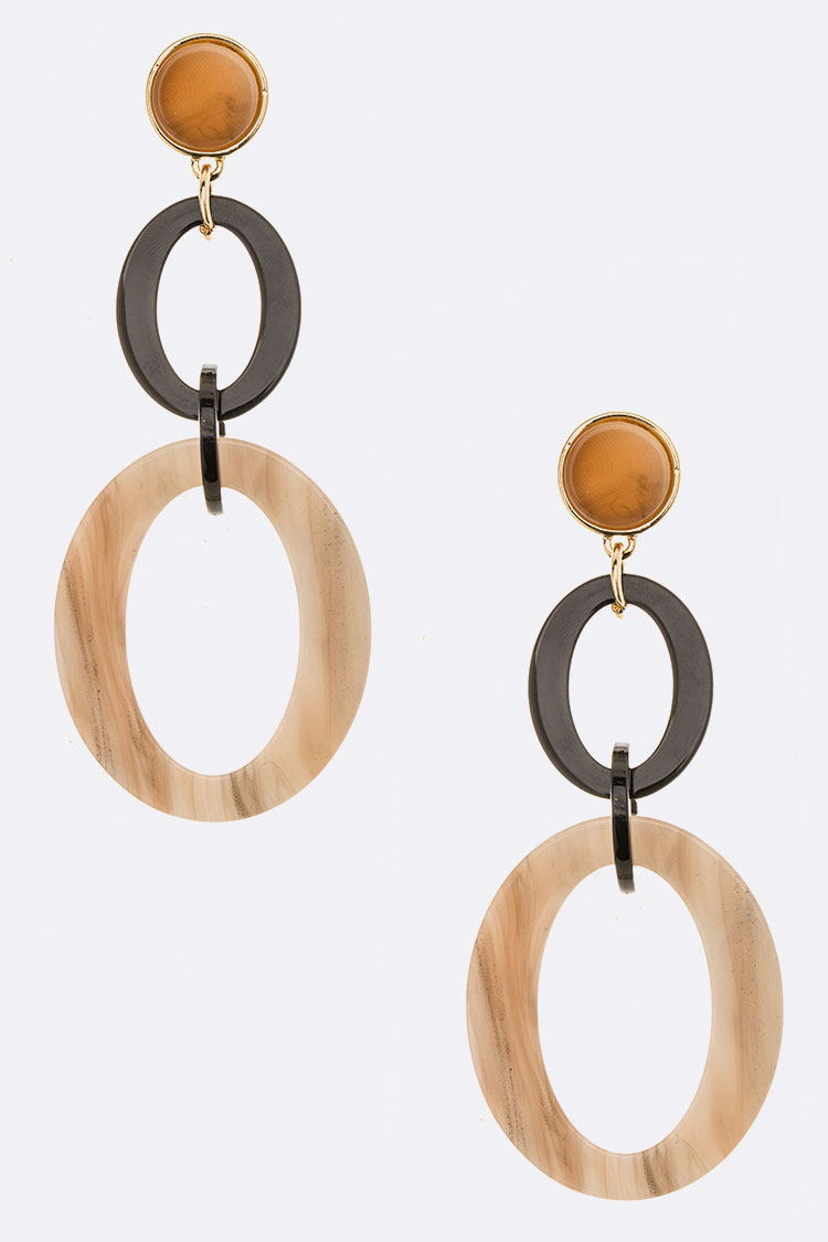 Celluloid Ring Drop Iconic Earrings