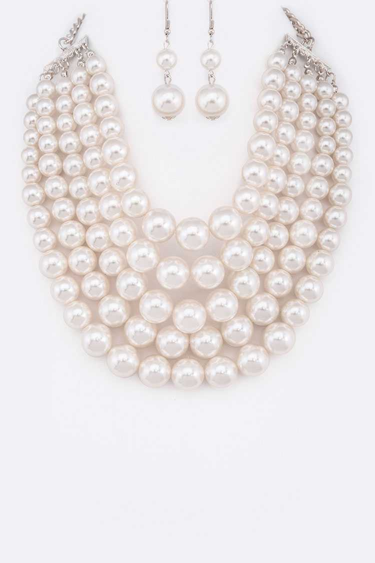 5 Strands Pearls Statement Necklace Set