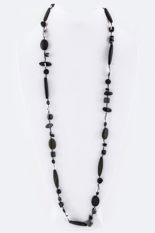 Mix Wooden Beads Long Station Necklace