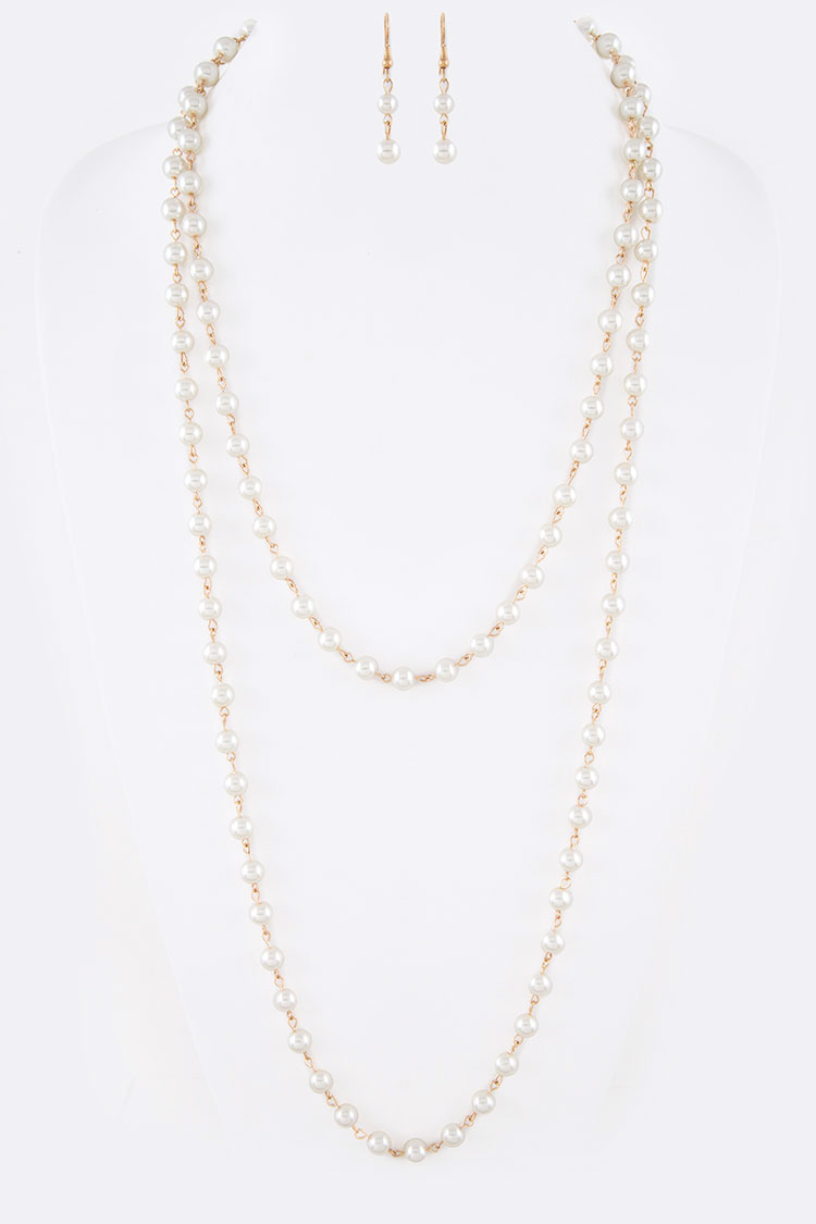"Pearl Station 60"" Necklace Set"