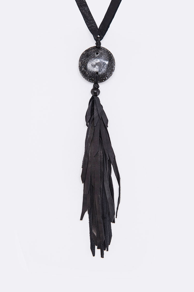 Stone Disc & Leather Tassel Necklace