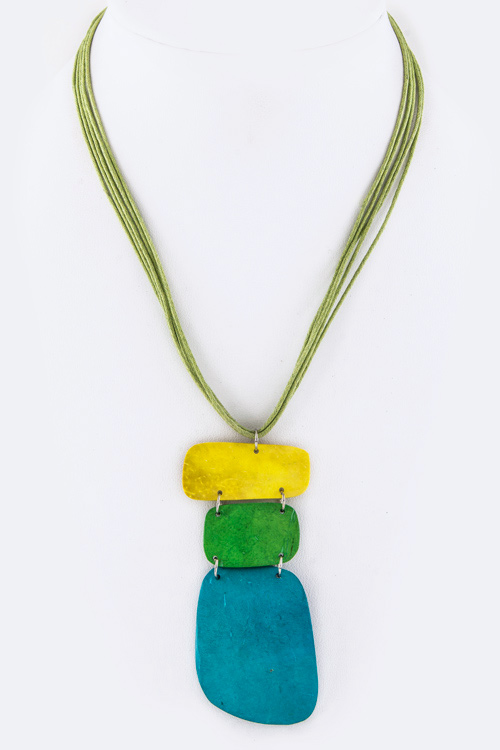 3 Tone Wooden Plates Necklace