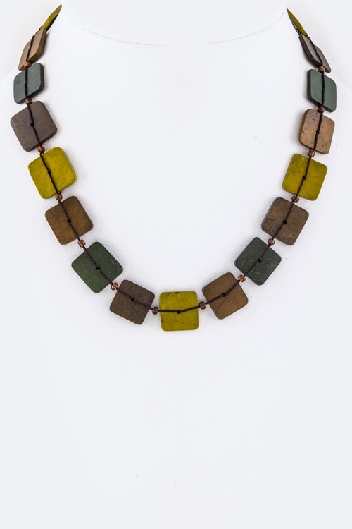 Mix Tone Wooden Plates Necklace