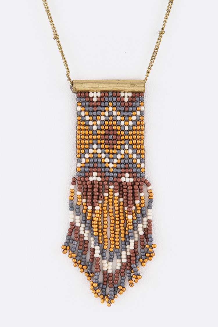 Beaded Aztec Pendant Long Neckalce