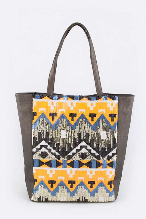 Sequins Iconic Leather Tote