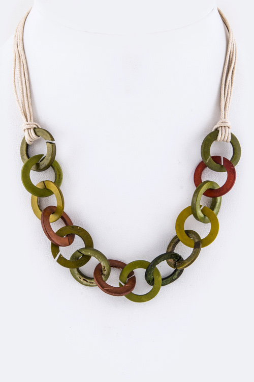 Linked Wooden Hoops Necklace