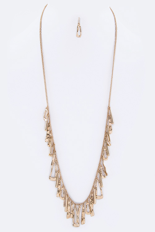 Fringe Metal Bars Long Necklace Set