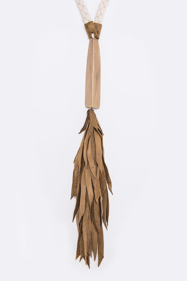 Wood & Suede Fringe Long Necklace Set