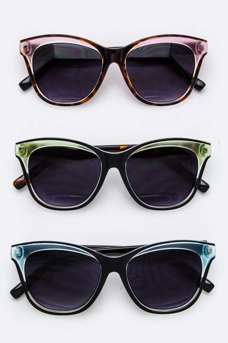 2 Tone Rim Fashion Wayfarer Sunglasses