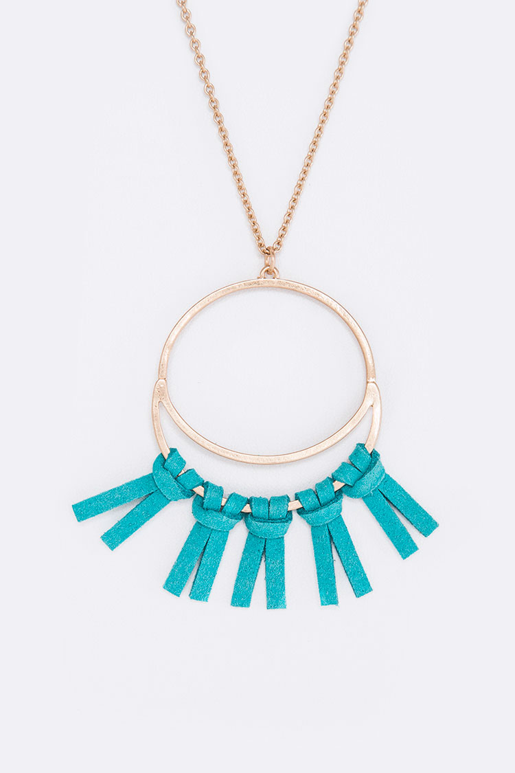 Sueded Tassel Pendant Necklace Set