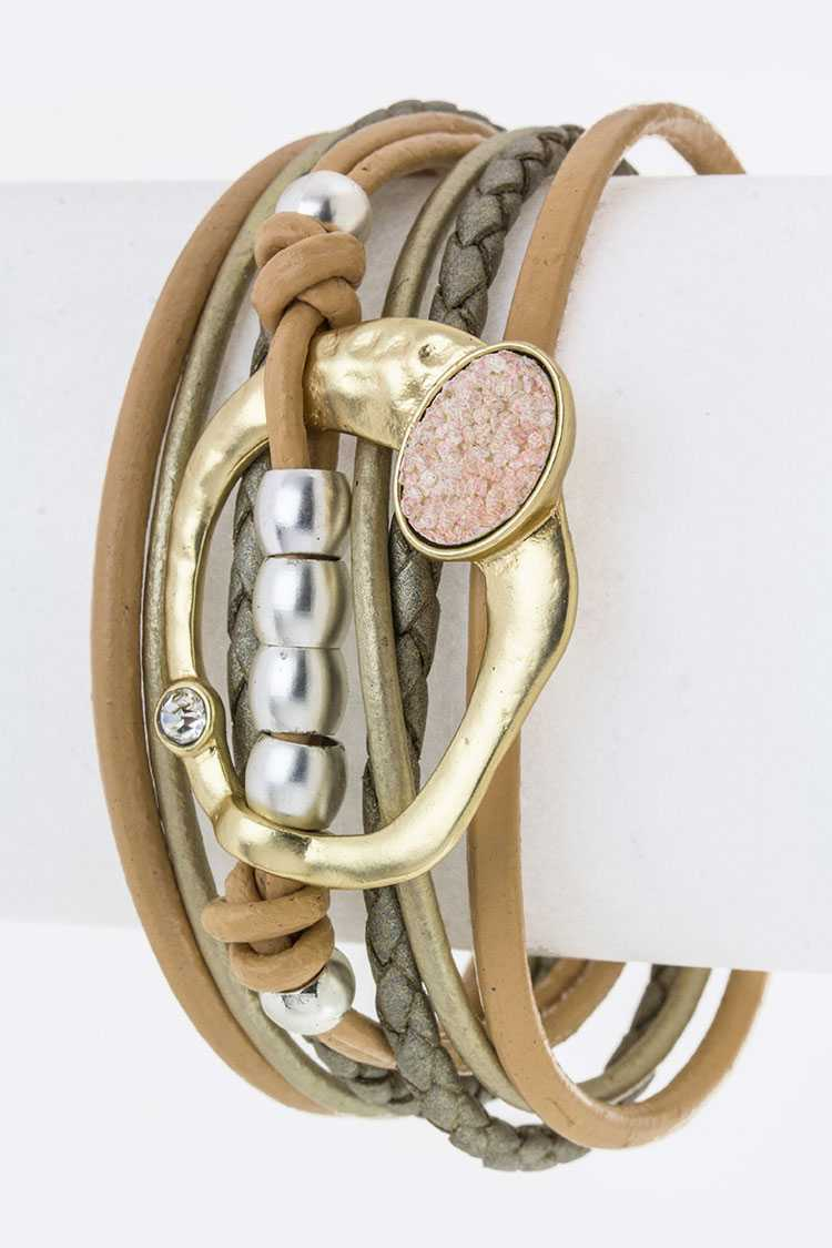 Ornate Metal Hoop Layer Leather Cuff