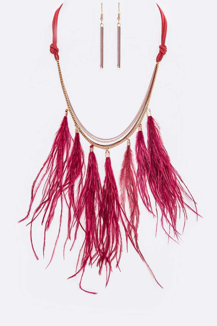 Layer Chains & Feather Statement Necklace Set
