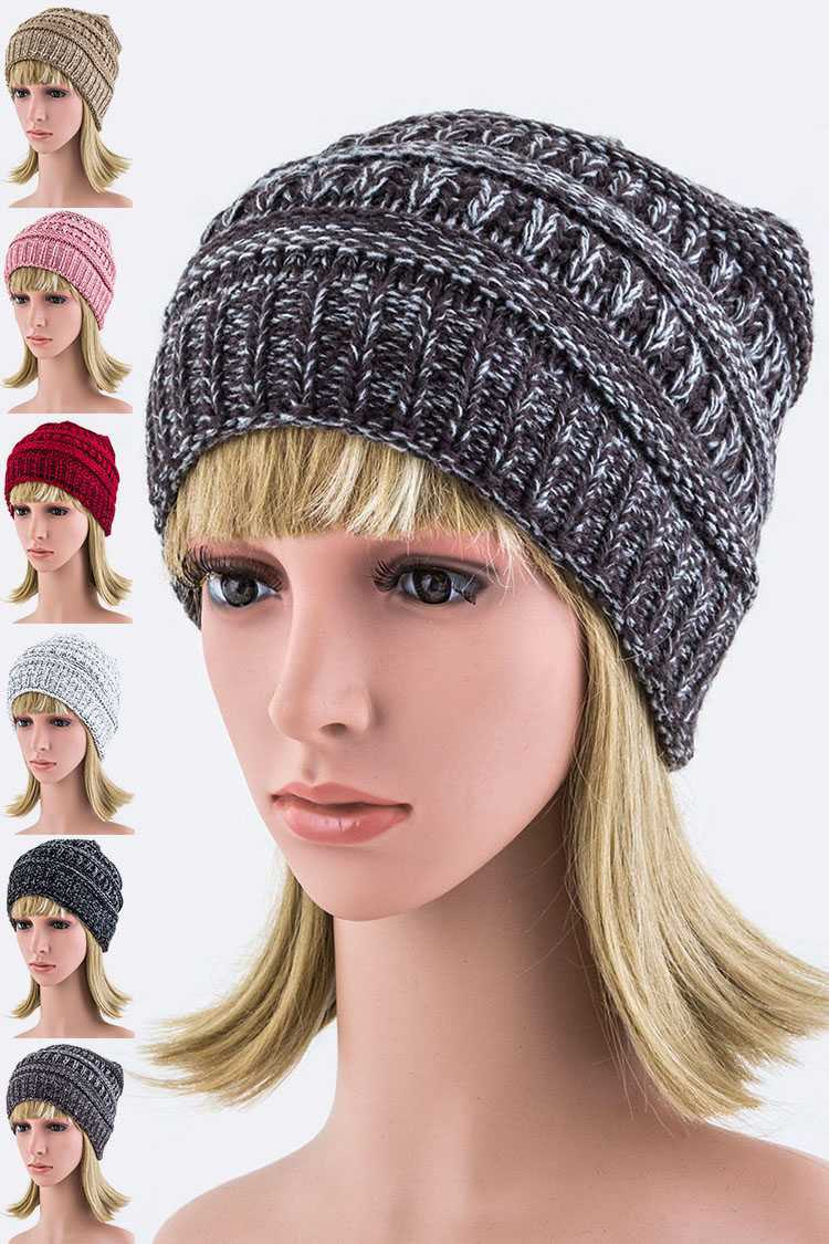 Mix Knit Beanie Hat