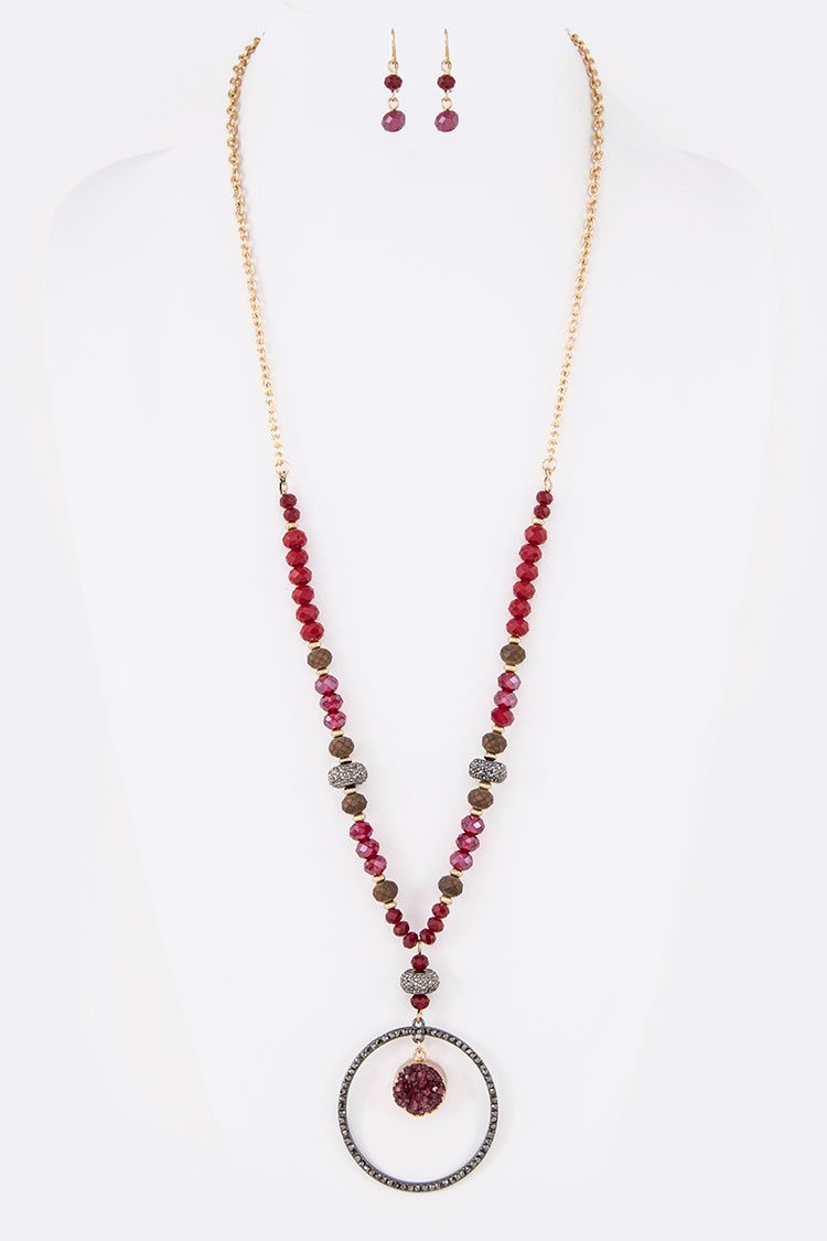 Genuine Druzy Crystal Ring Pendant Long Necklace Set