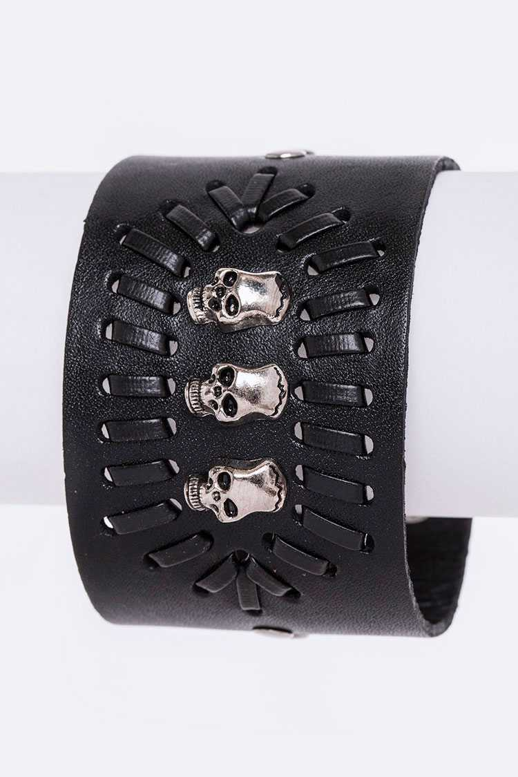 Skull Studs & Laced Leather Cuff