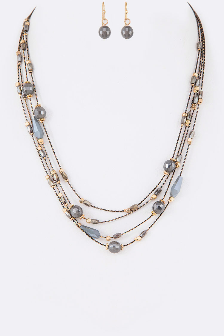 Crystal Station Layer Necklace Set