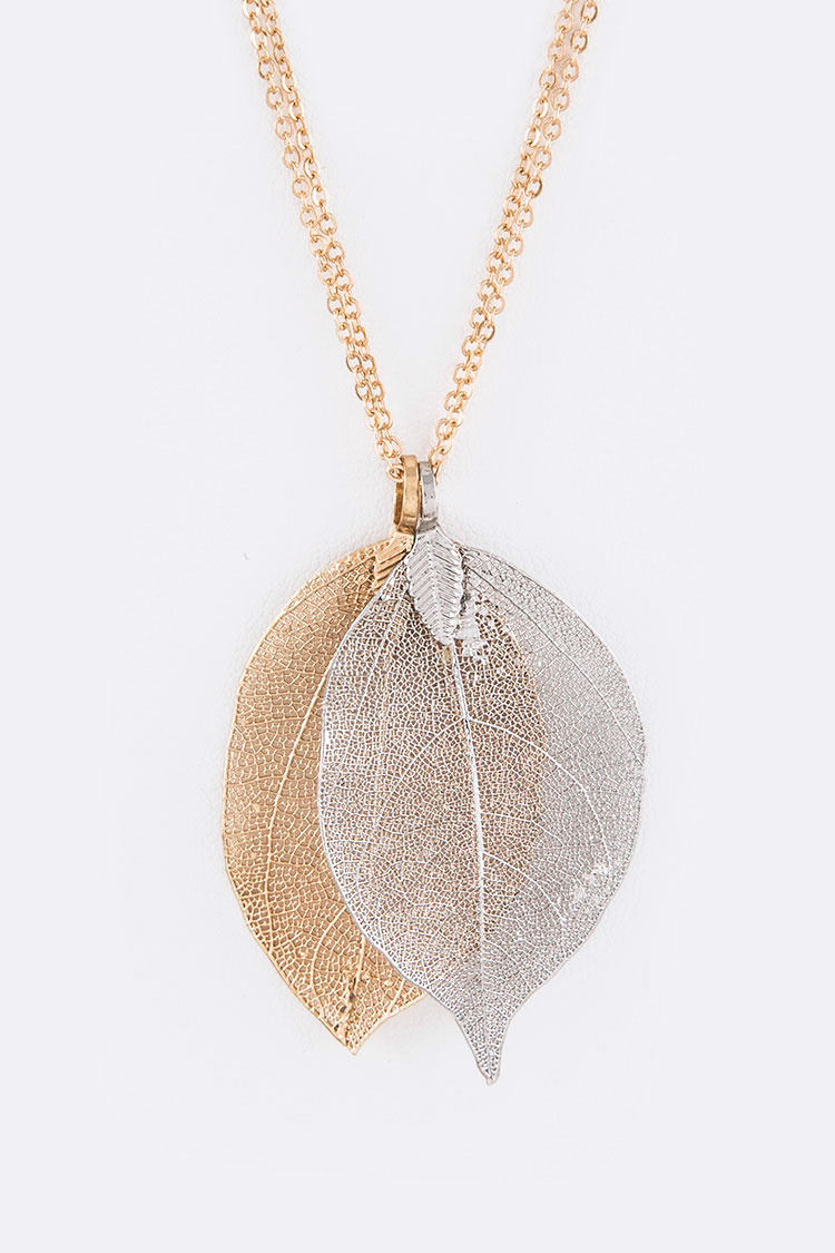2 Tone Dipped Leafs Iconic Pendant Necklace Set