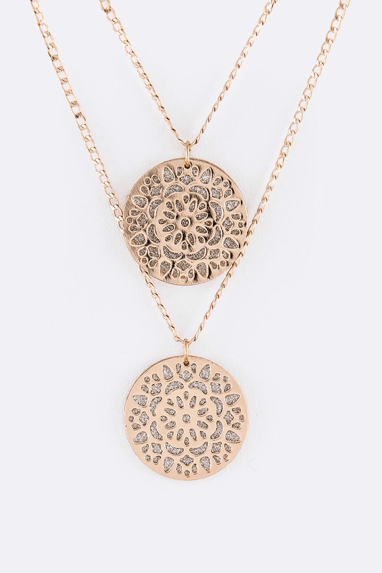 Glittered Filigree Plate Double Pendant Layer Necklace