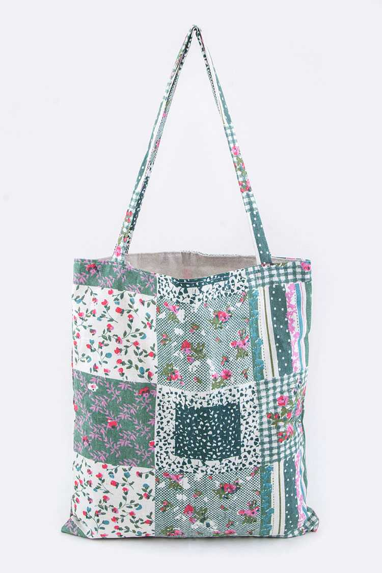 Mix Floral Pattern Blocks Canvas Tote