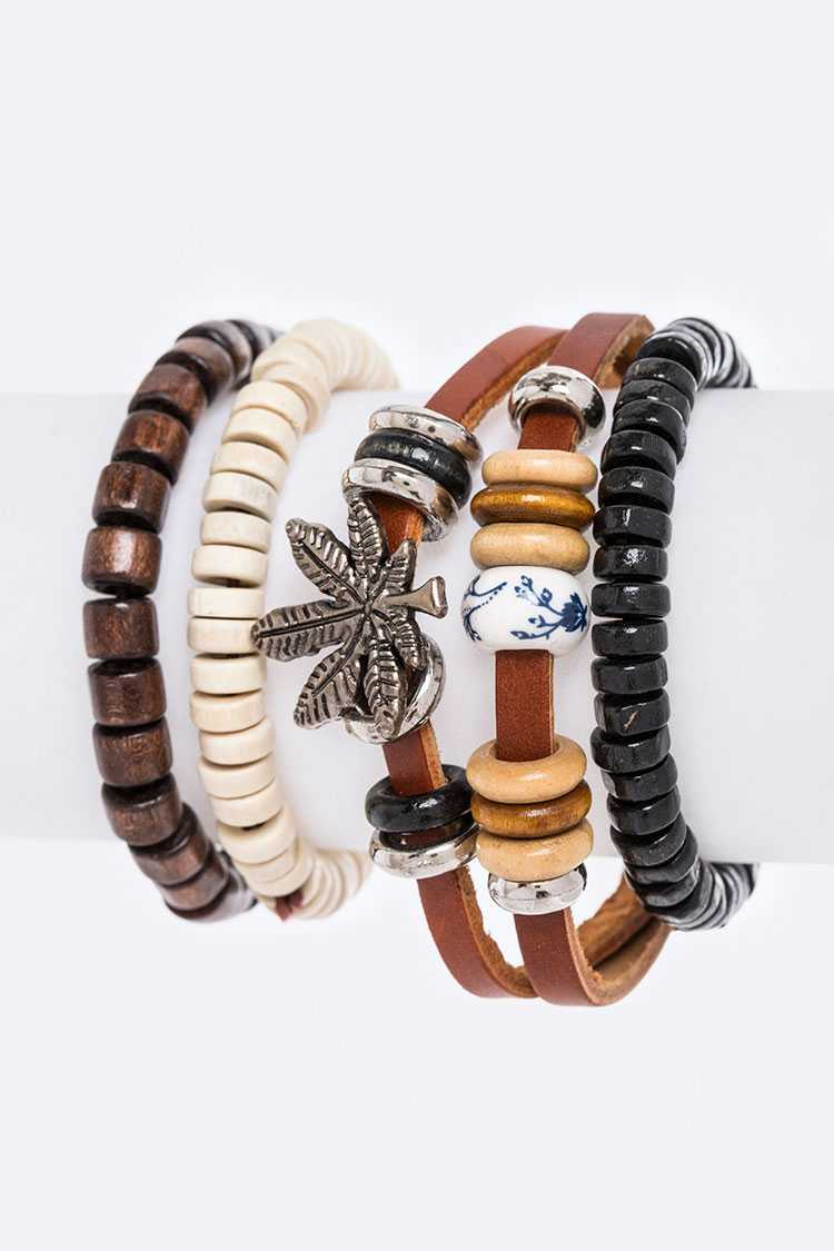 Marijuana Mix Leather Bracelet Set